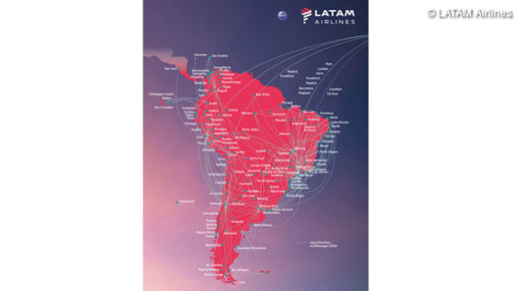 Routenkarte LATAM Airlines